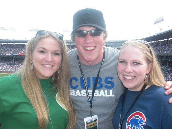 Three kids Cubs game