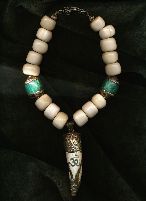 Bone beads with Antique Tibetan Pendant