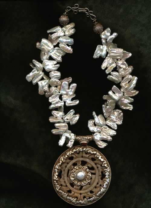 Tibetan Pendant and Pearls
