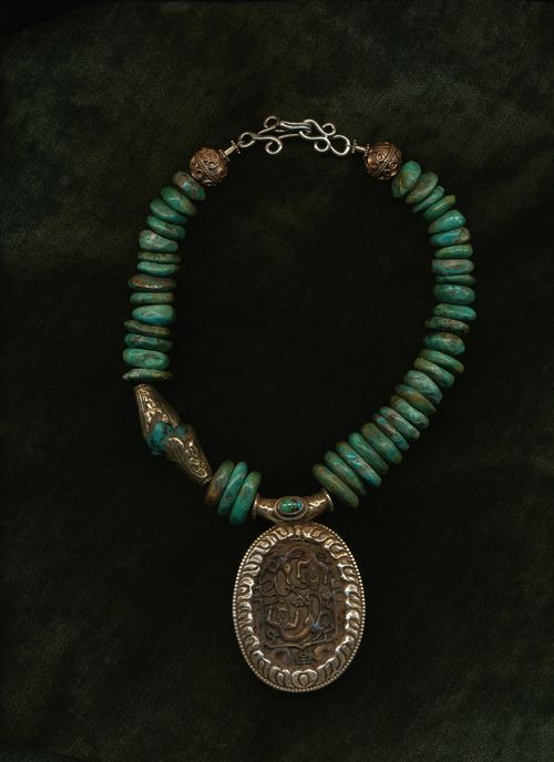 Turquoise and Antique Jade pendant